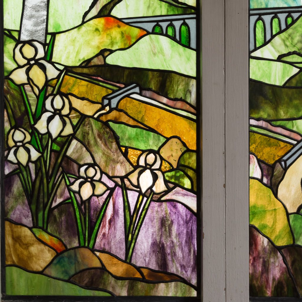 Two large Tiffany style stained glass panels, -131718