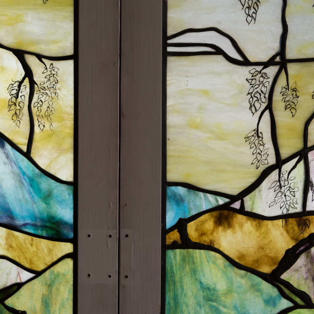 Two large Tiffany style stained glass panels, -131715