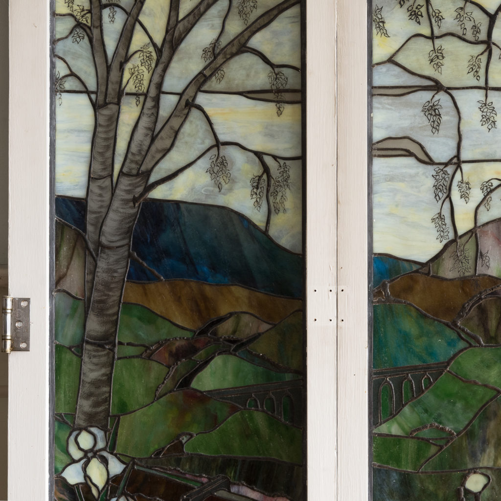 Two large Tiffany style stained glass panels, -131716