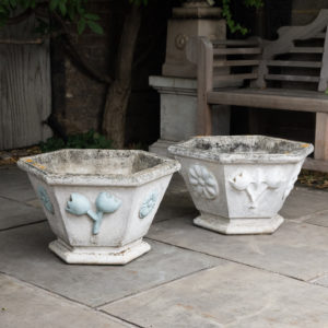 Pair of hexagonal reconstituted stone garden planters,
