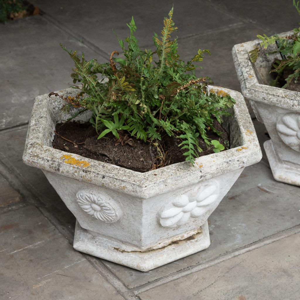 Pair of hexagonal reconstituted stone garden planters,-131437