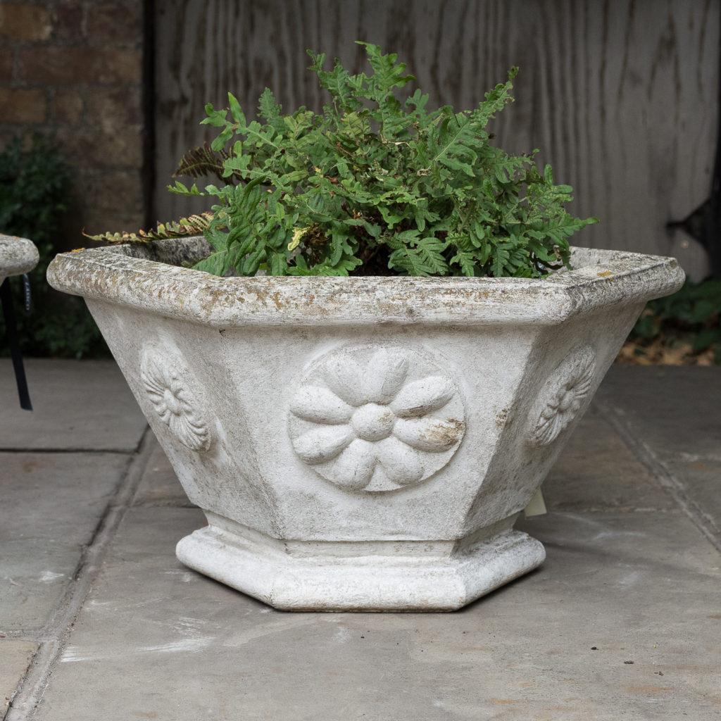 Pair of hexagonal reconstituted stone garden planters,