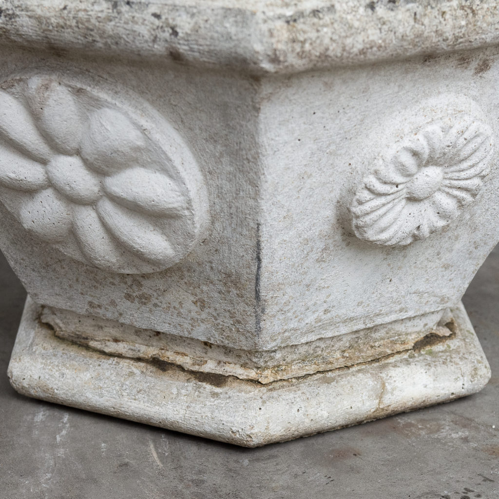 Pair of hexagonal reconstituted stone garden planters,-131441