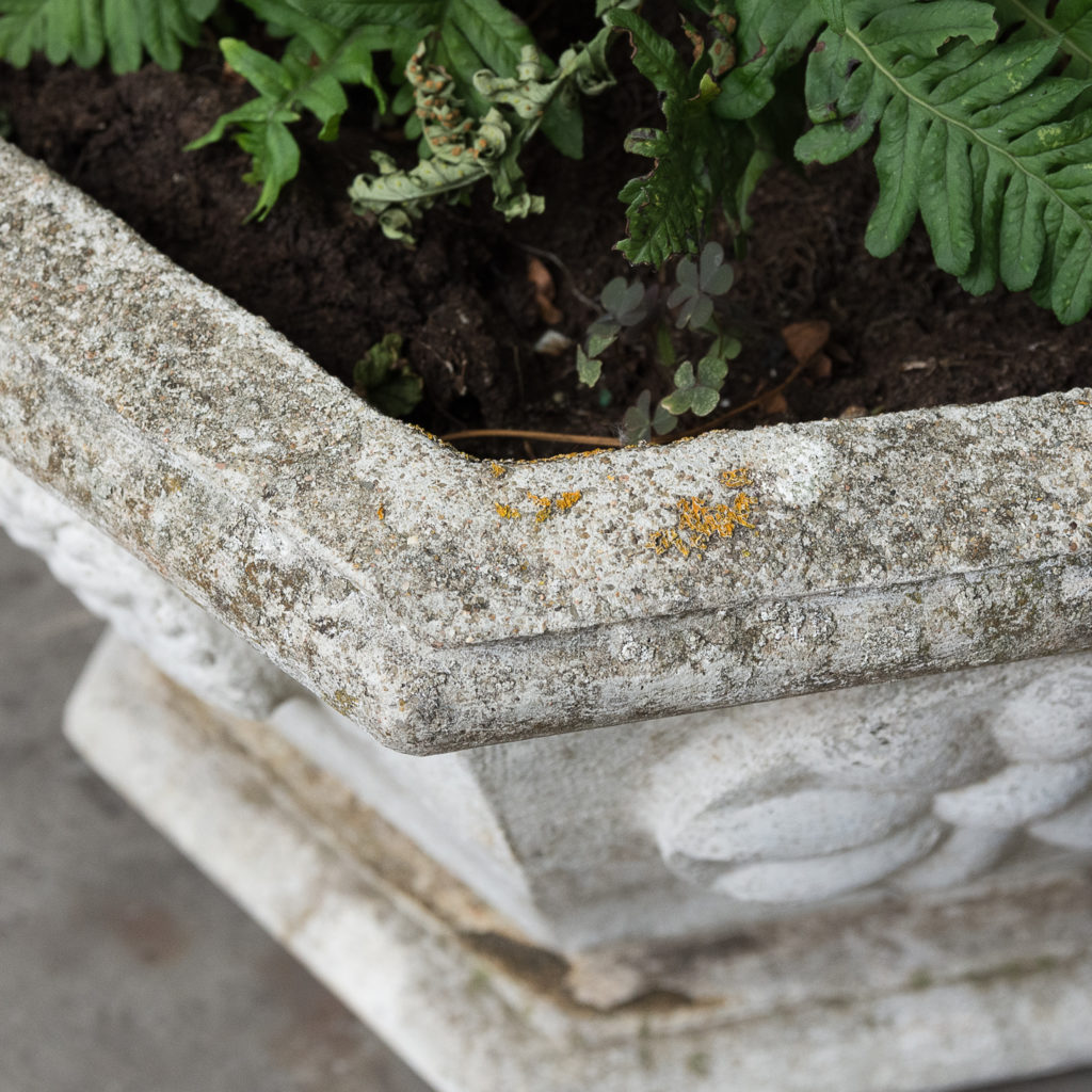 Pair of hexagonal reconstituted stone garden planters,-131443