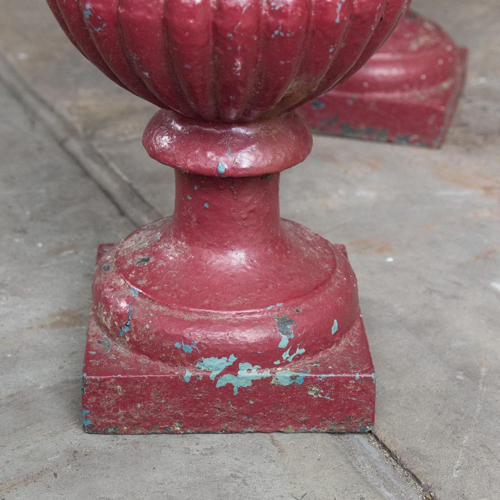 Pair of cast iron campana urns,-131471