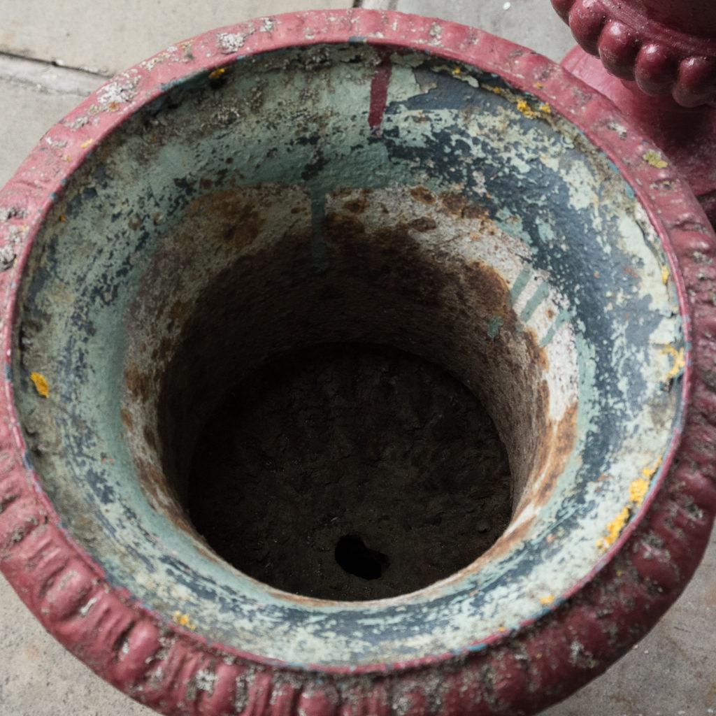 Pair of cast iron campana urns,-131473