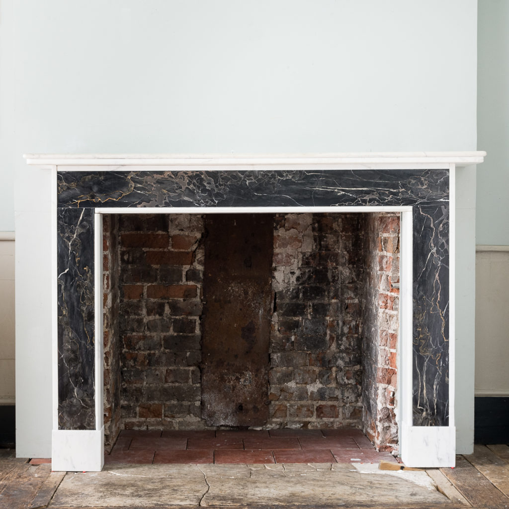 Portoro and Carrara marble chimneypiece,