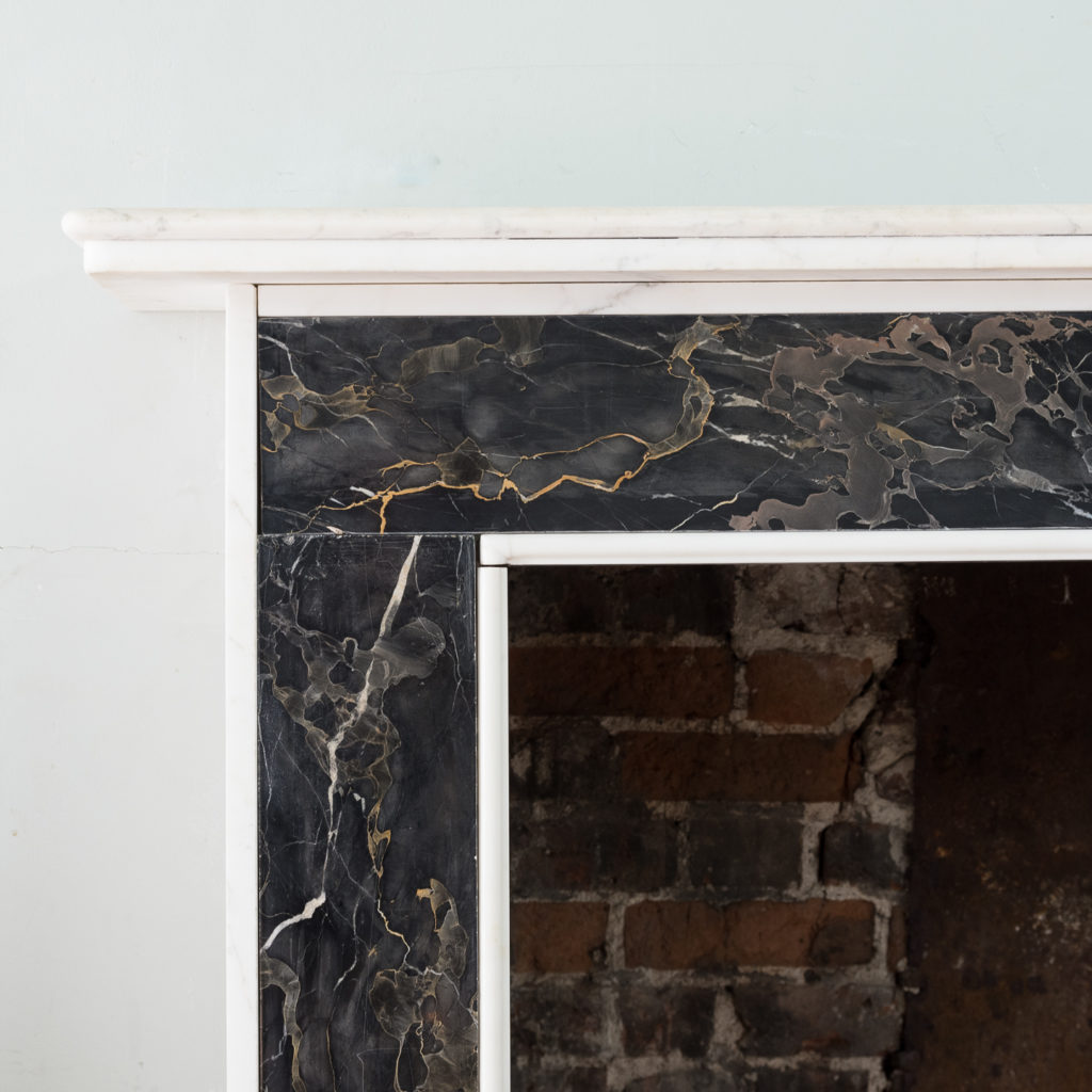 Portoro and Carrara marble chimneypiece,-130671