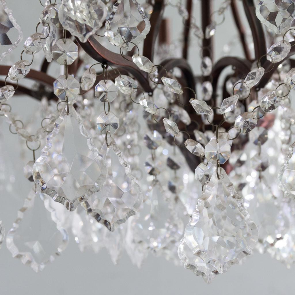 Twelve light glass lustre and bronzed metal chandeliers, -131595
