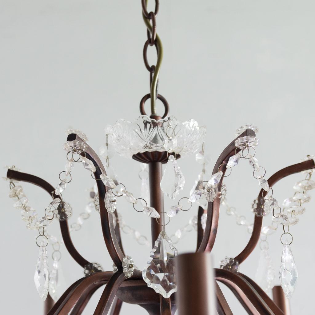 Twelve light glass lustre and bronzed metal chandeliers, -131592