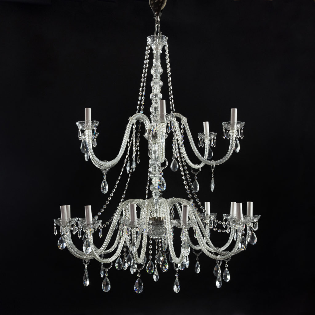 Large eighteenth light moulded glass chandelier,
