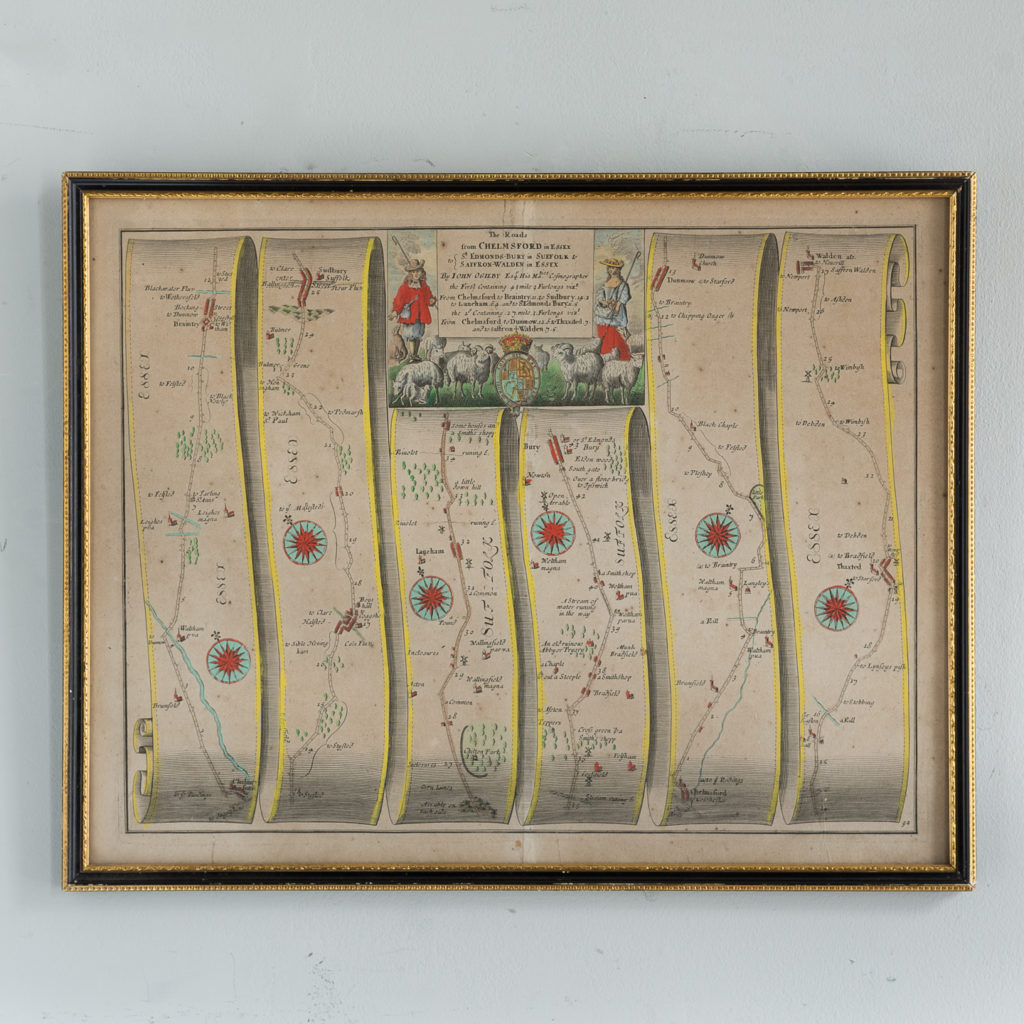 1675 antique map showing the roads from Chelmsford to Saffron Walden and Bury,