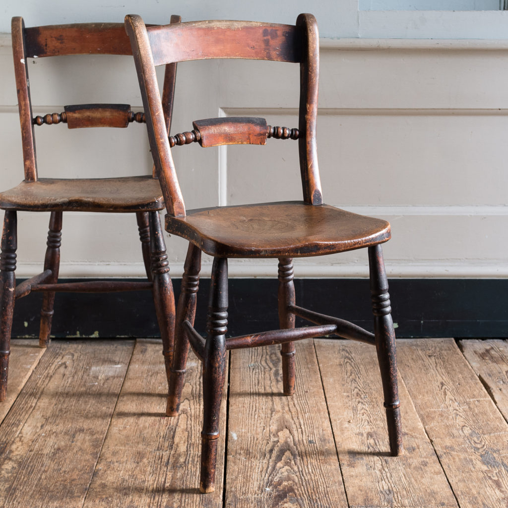 Pair of mid-nineteenth century Thames Valley Windsor chairs,