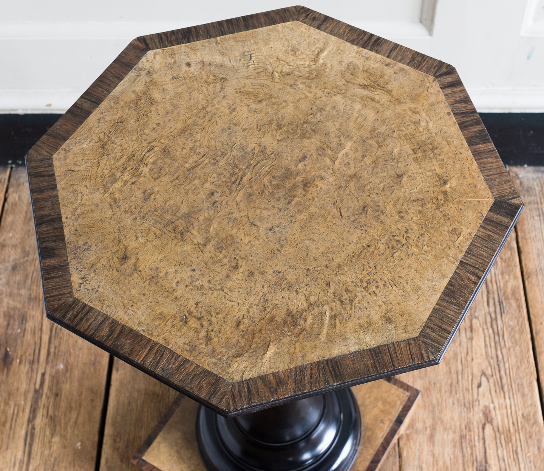 Regency style pollard oak, ebony and rosewood occasional table,-132347