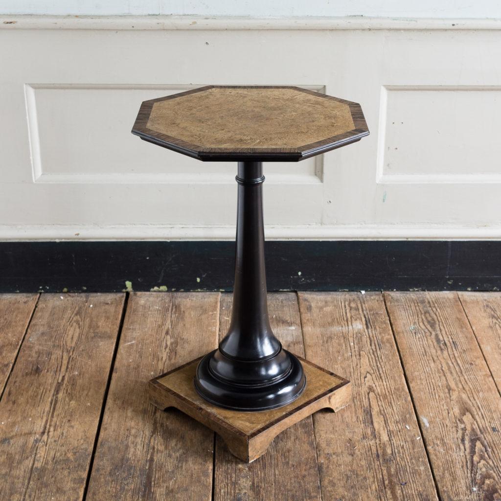 Regency style pollard oak, ebony and rosewood occasional table,