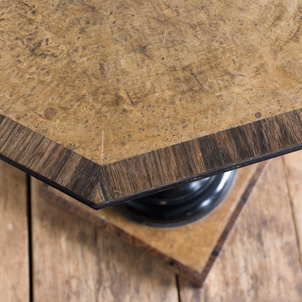 Regency style pollard oak, ebony and rosewood occasional table,-132345