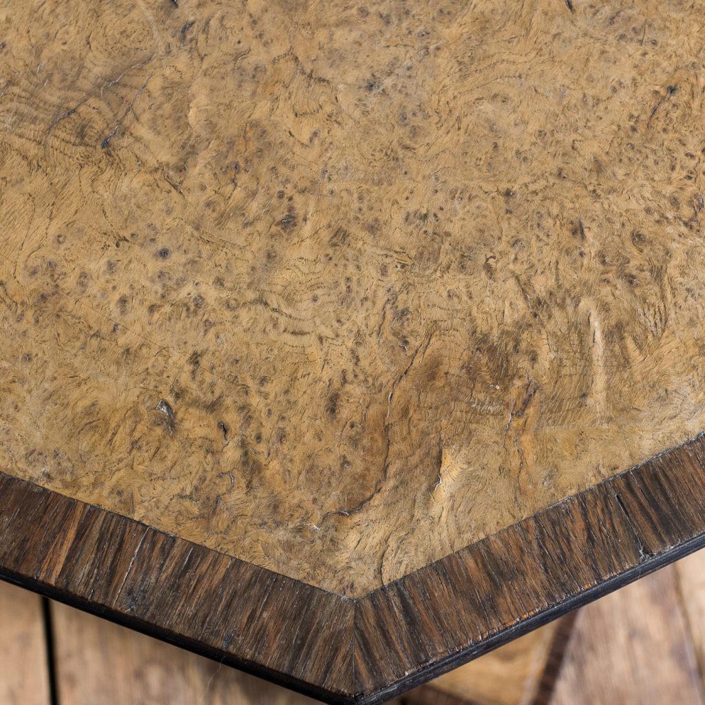 Regency style pollard oak, ebony and rosewood occasional table,-132346