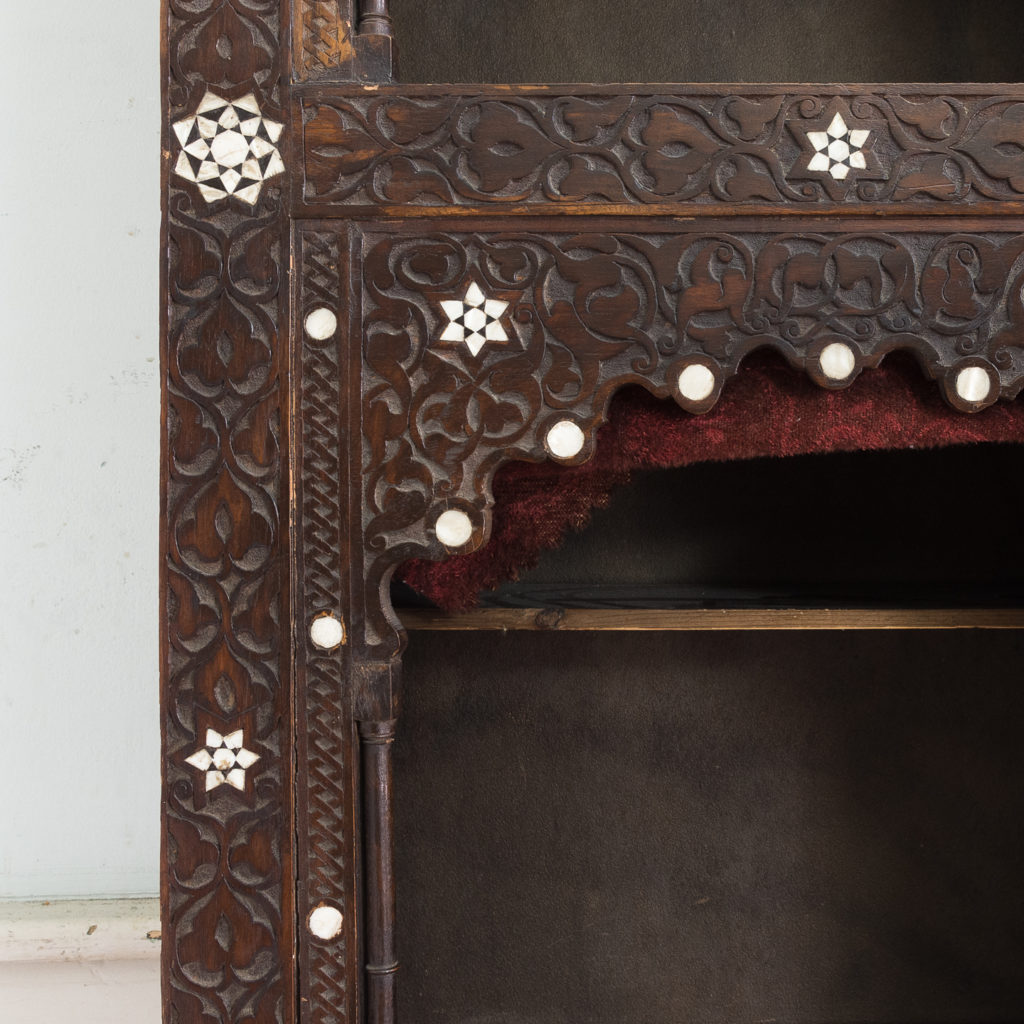 Set of Middle-Eastern teak and mother of pearl inlaid shelves,-132370