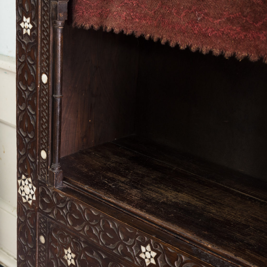 Set of Middle-Eastern teak and mother of pearl inlaid shelves,-132371