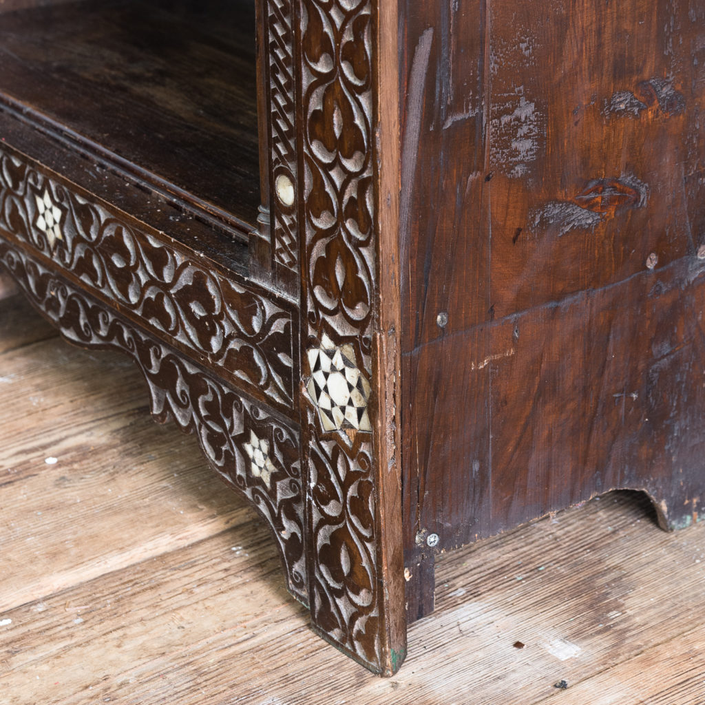 Set of Middle-Eastern teak and mother of pearl inlaid shelves,-132373