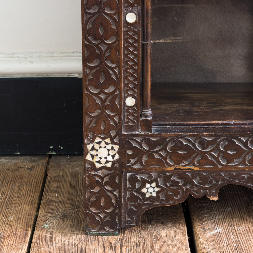 Set of Middle-Eastern teak and mother of pearl inlaid shelves,-132372