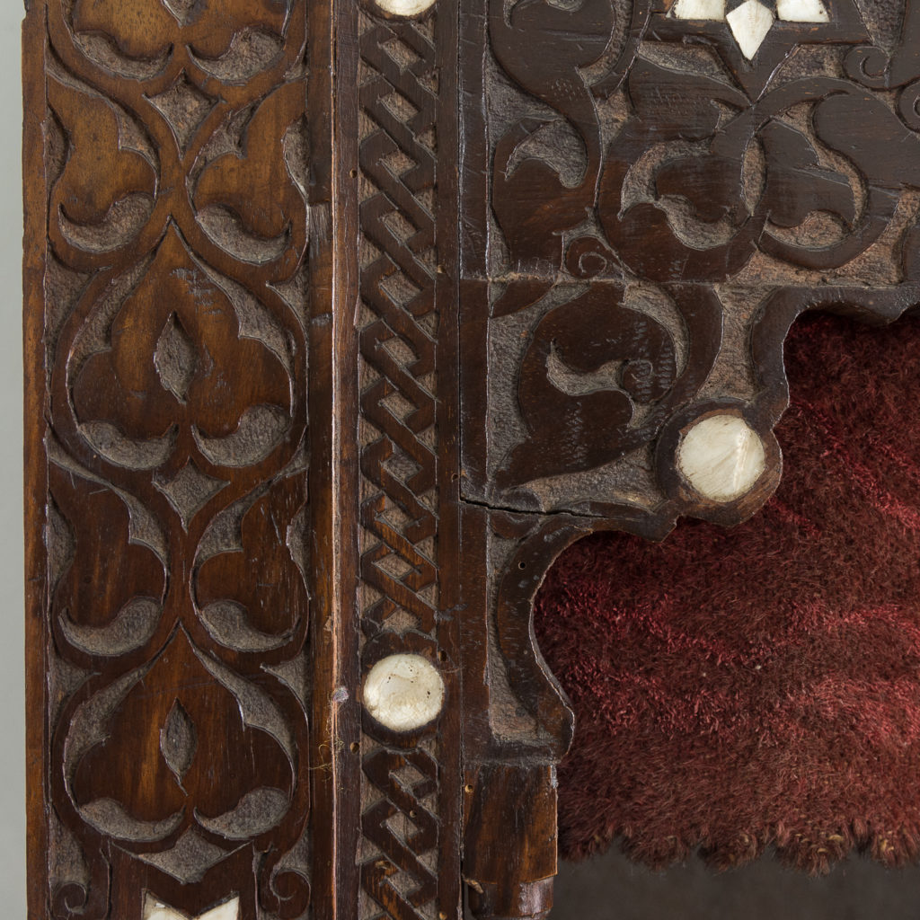 Set of Middle-Eastern teak and mother of pearl inlaid shelves,-132366