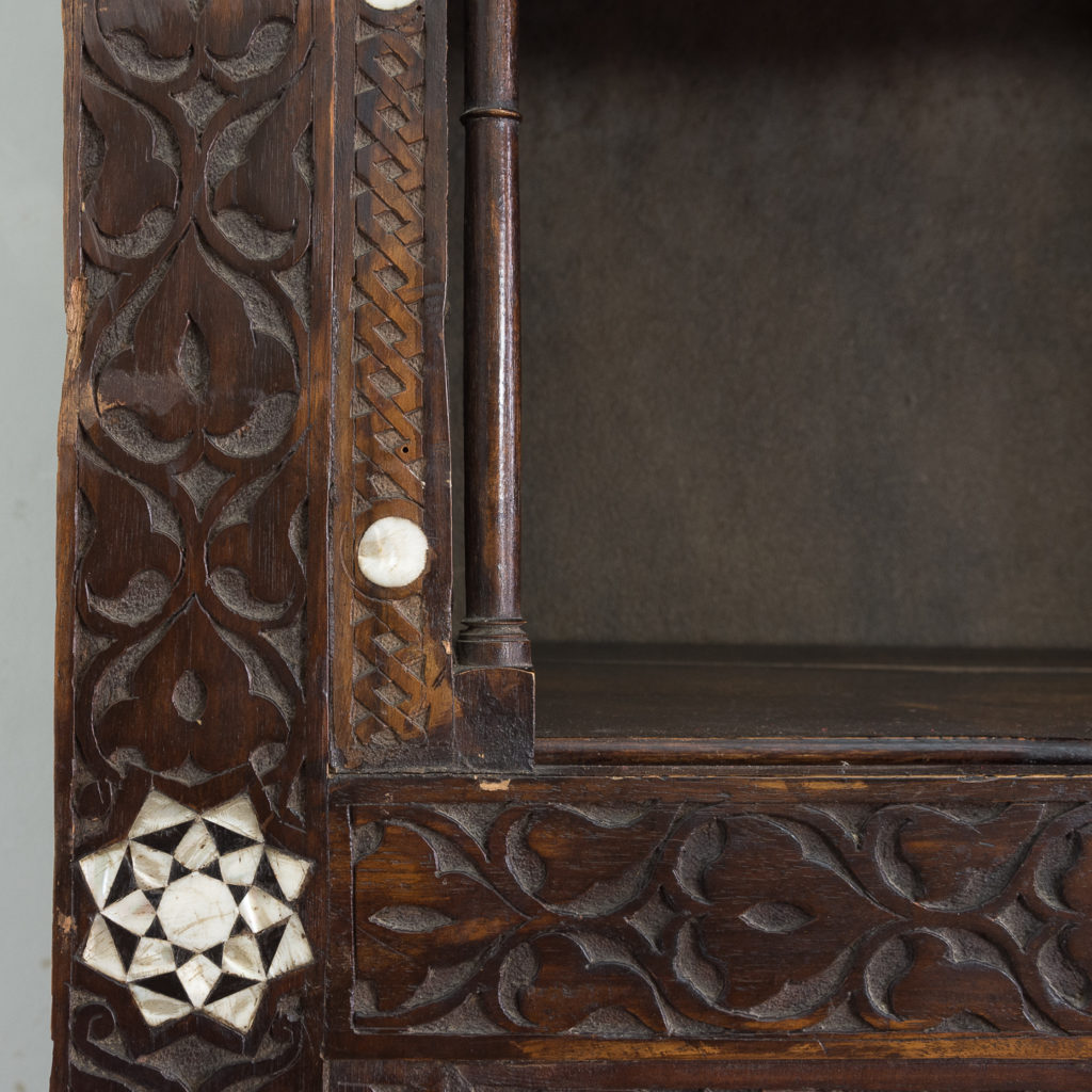 Set of Middle-Eastern teak and mother of pearl inlaid shelves,-132368