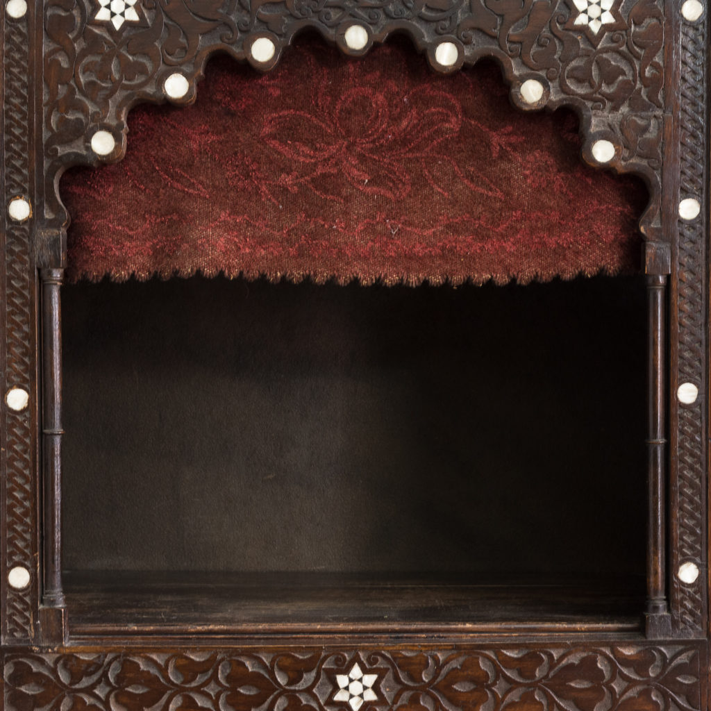 Set of Middle-Eastern teak and mother of pearl inlaid shelves,-132369