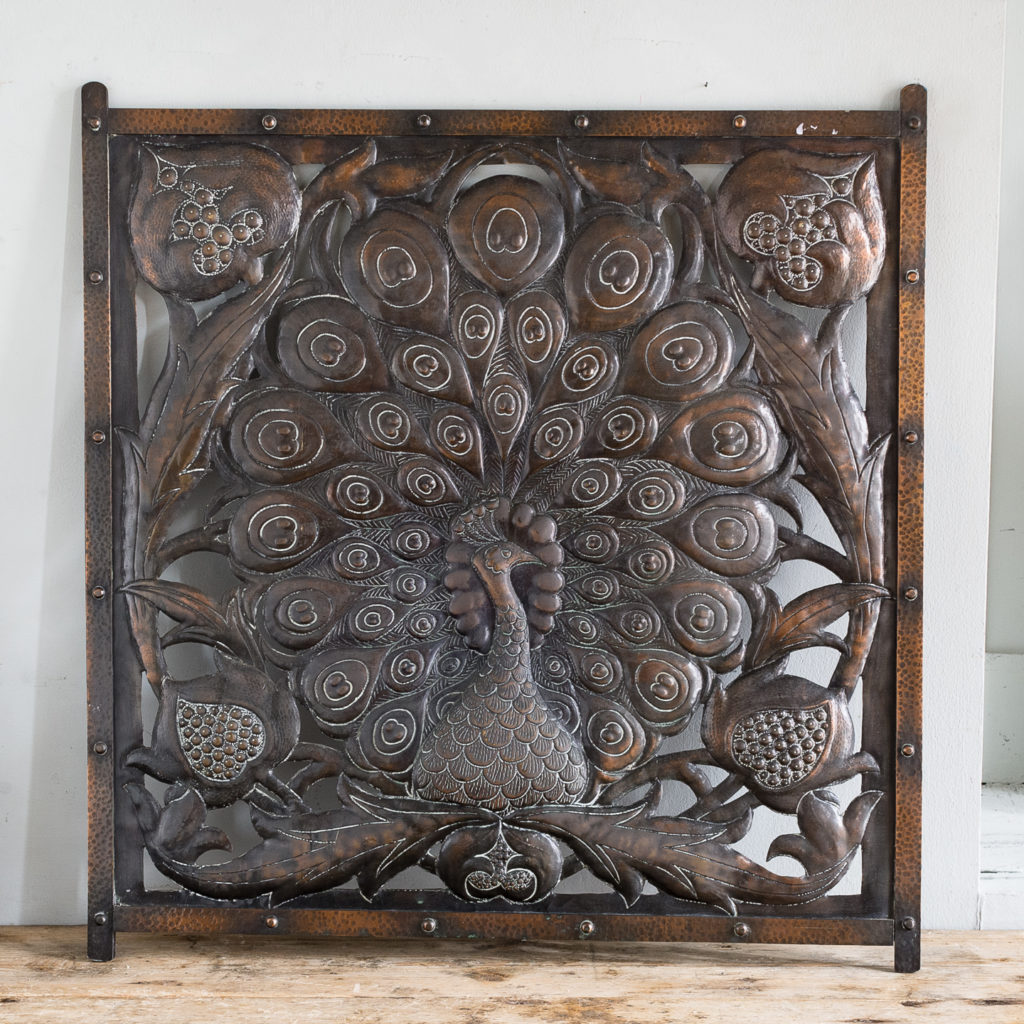 Arts and Crafts copper repousse decorative panel,
