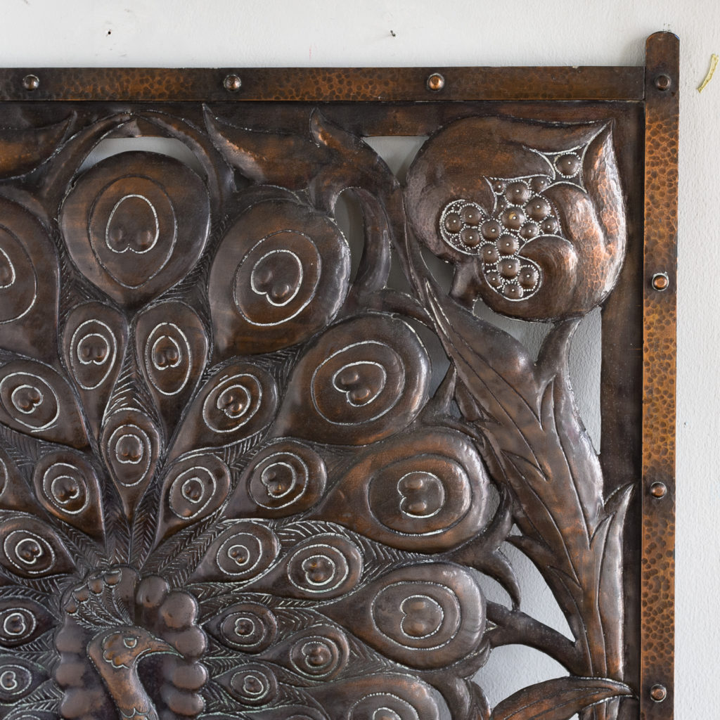 Arts and Crafts copper repousse decorative panel,-132193