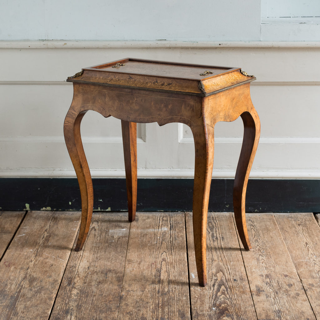 Victorian burr walnut jardinière table,