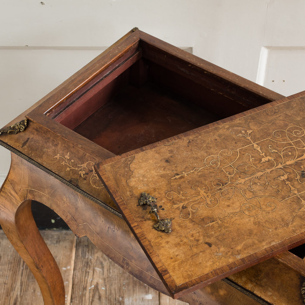 Victorian burr walnut work table,-132162