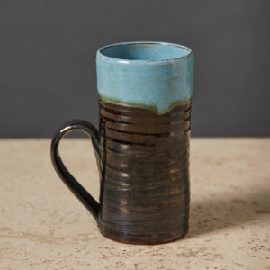 'Mask' pottery latte cup,-0