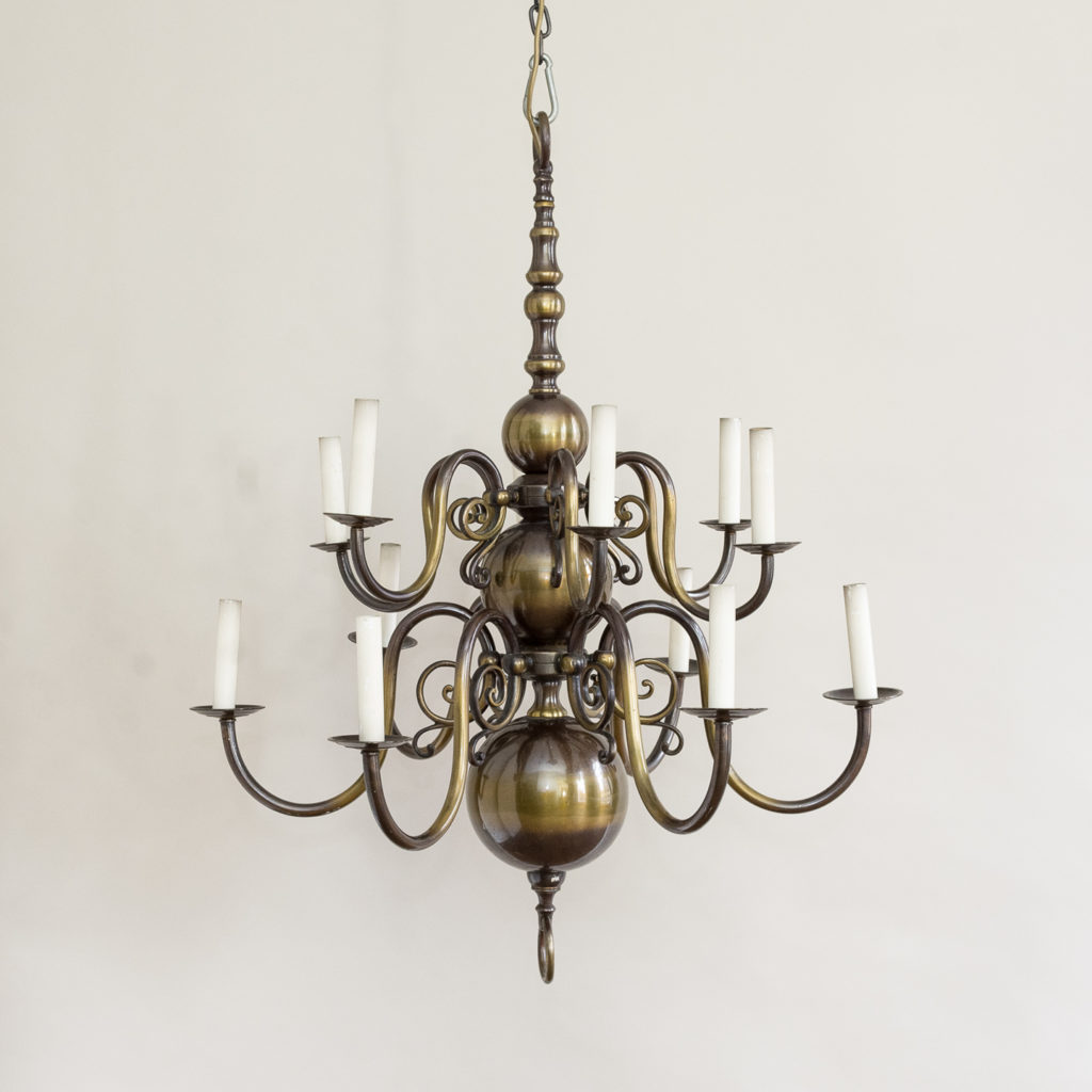 Twelve light Flemish style chandelier