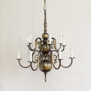 Twelve light Flemish style chandelier