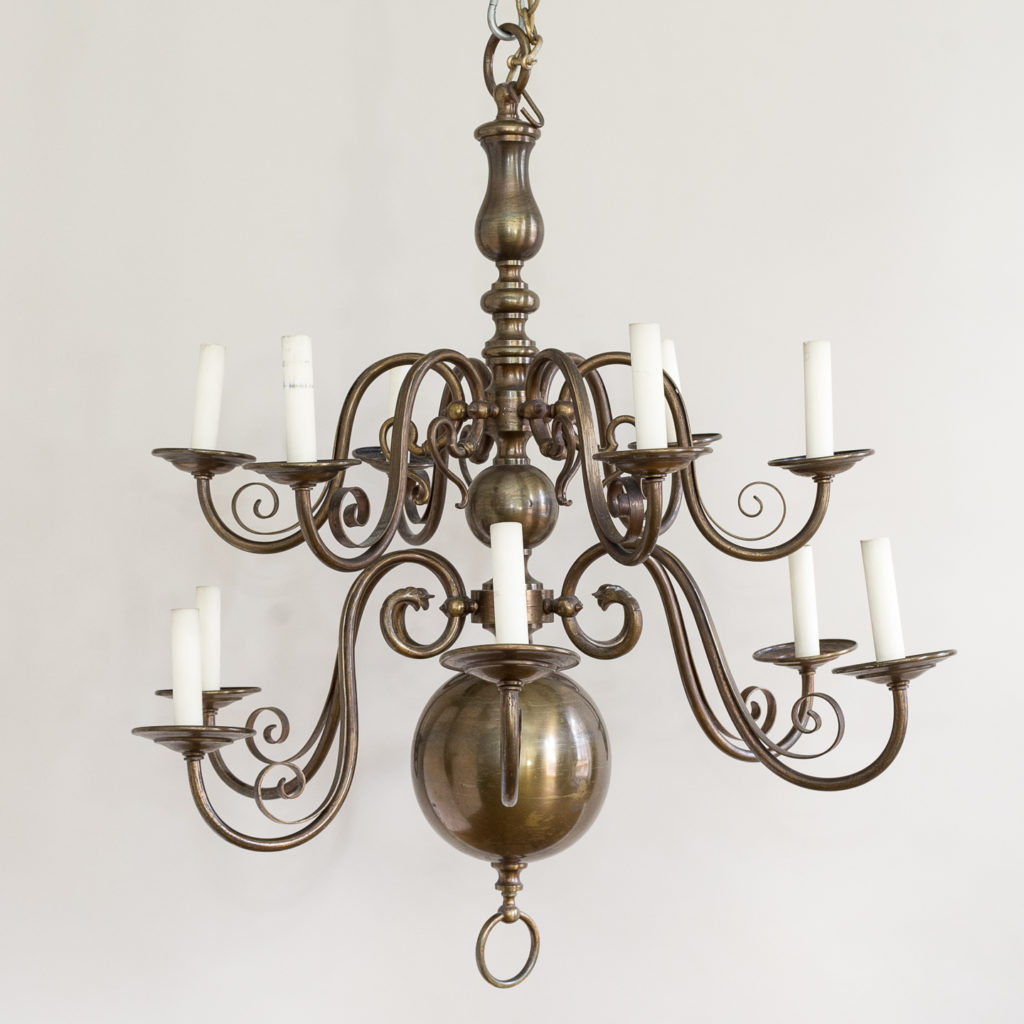 Twelve light Flemish style chandelier,-132922