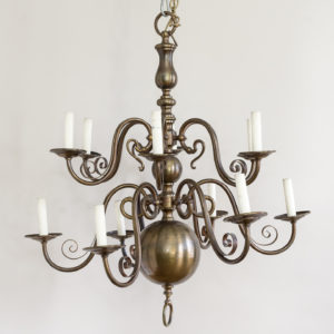 Twelve light Flemish style chandelier,-0