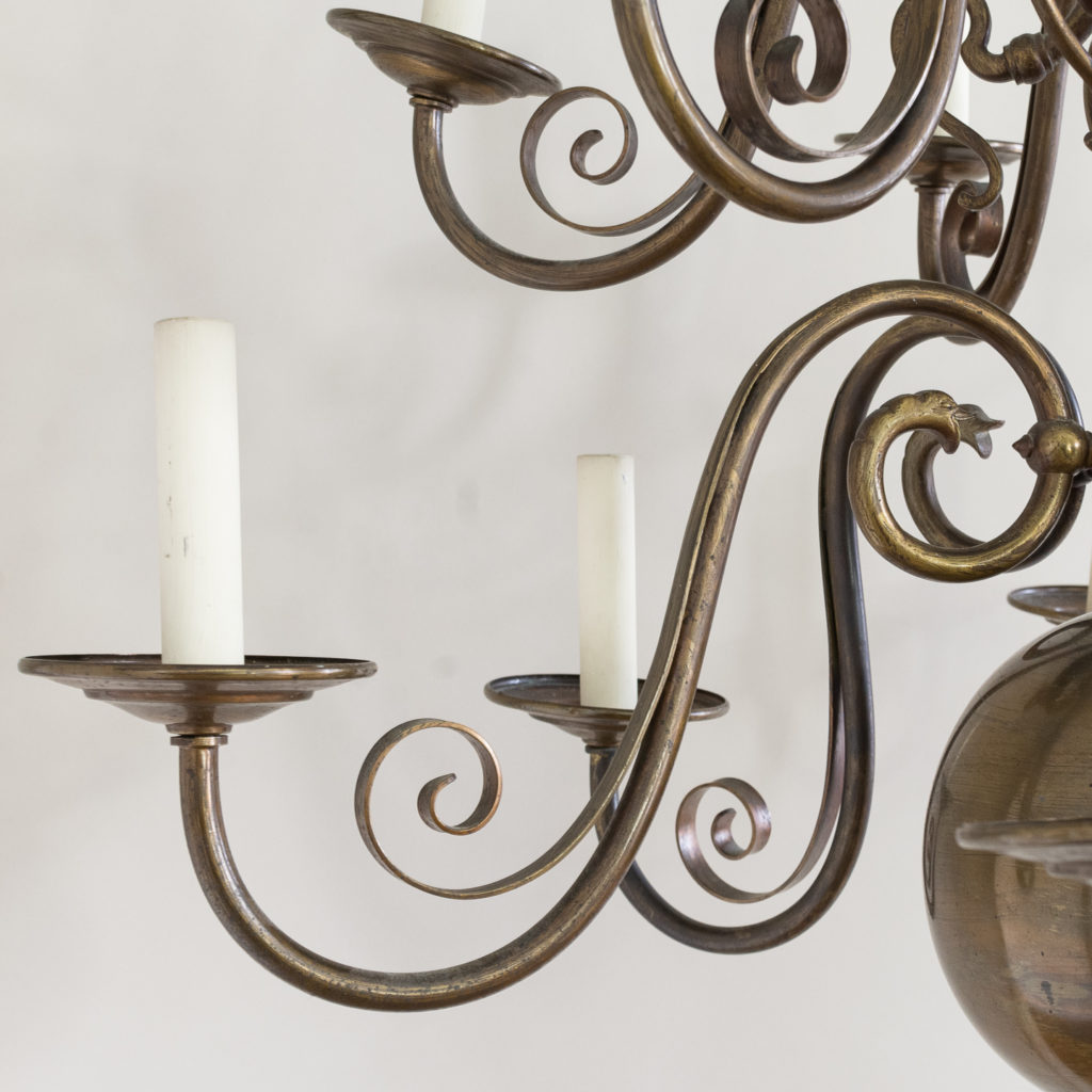 Twelve light Flemish style chandelier,-132925
