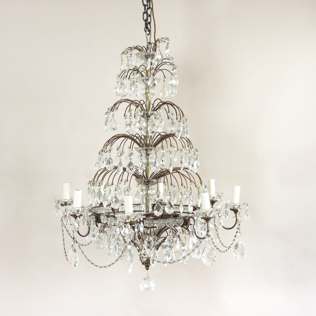 Early twentieth century Continental moulded glass chandelier,-0