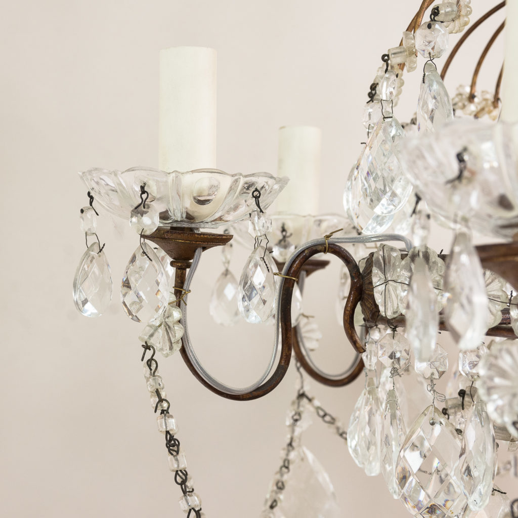 Early twentieth century Continental moulded glass chandelier,-132850