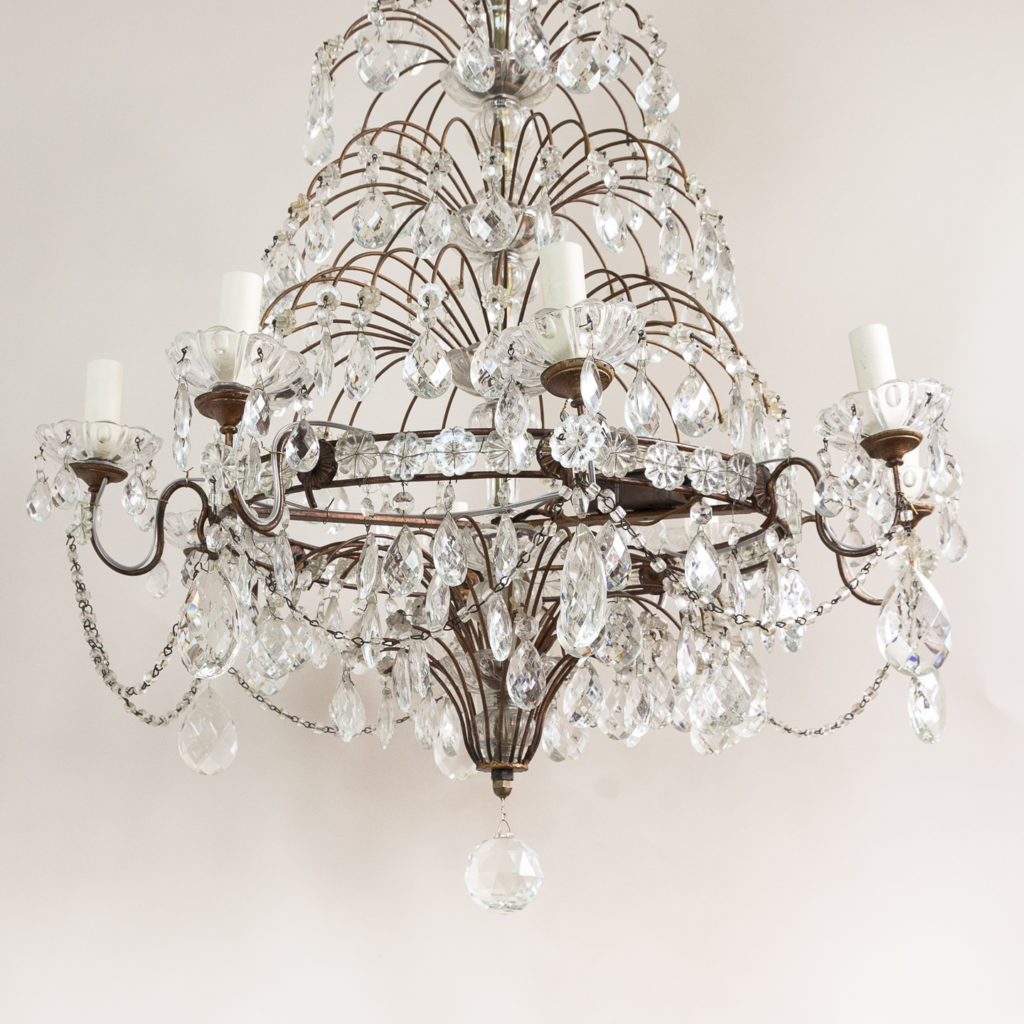 Early twentieth century Continental moulded glass chandelier,-132856