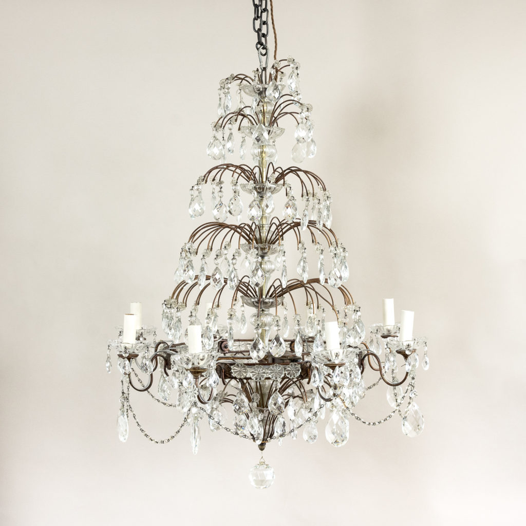 Early twentieth century Continental moulded glass chandelier,-132842