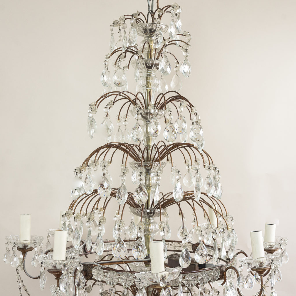 Early twentieth century Continental moulded glass chandelier,-132845