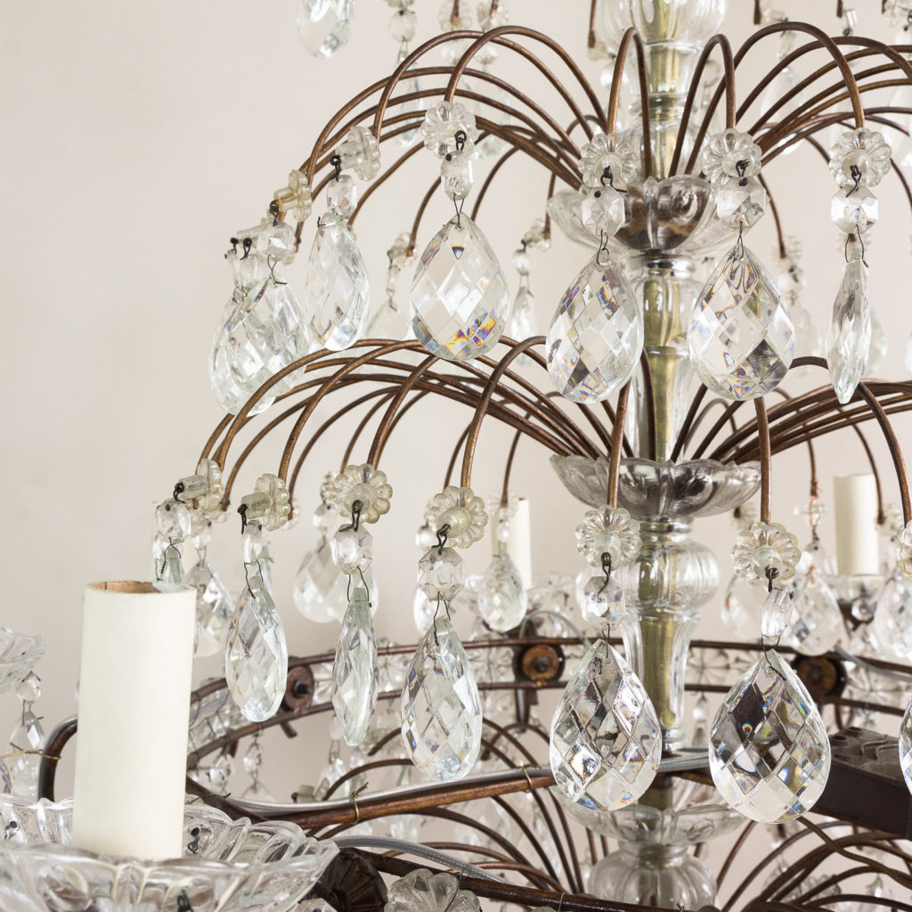 Early twentieth century Continental moulded glass chandelier,-132847