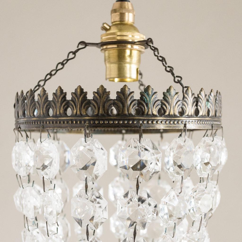 Small cut glass bag chandelier,-132432