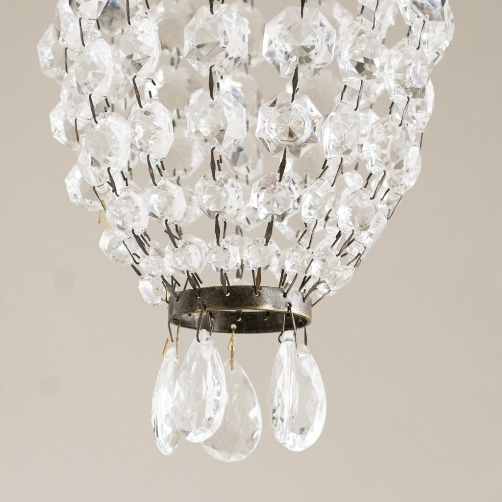 Small cut glass bag chandelier,-132431
