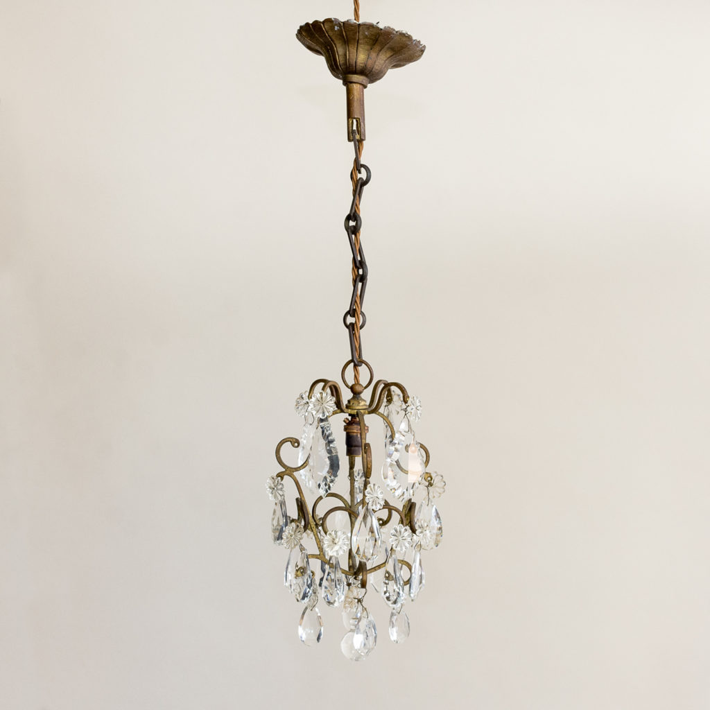 Small French glass lustre chandelier,