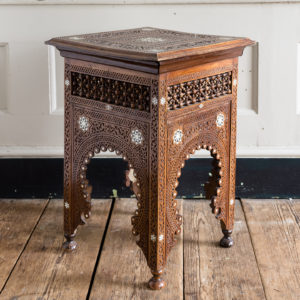 Syrian hardwood carved and inlaid occasional table,