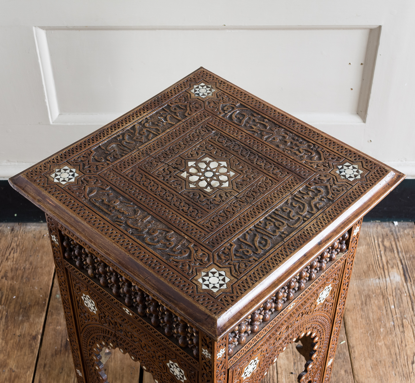 Syrian hardwood carved and inlaid occasional table,-132778