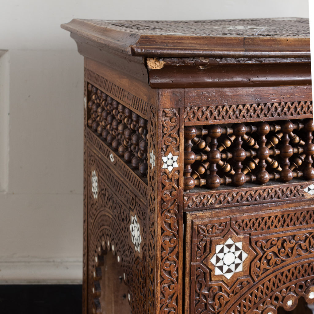 Syrian hardwood carved and inlaid occasional table,-132767